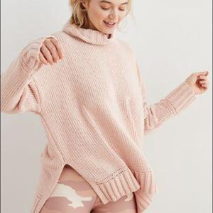 Aerie Dusty Pink Chenille Turtle Neck Sweater Sz S
